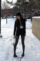 black Zara heels - black velvet American Apparel hat - velvet armani blazer