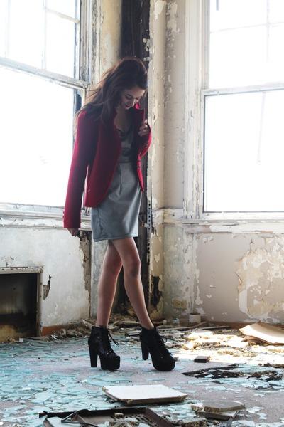 LaurenSuzanne dress - Vivian Shu jacket - Jeffrey Campbell pumps
