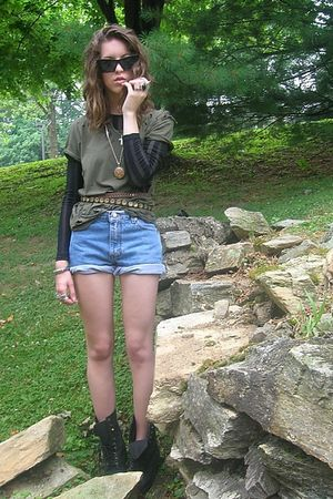 green DIY shirt - black Forever 21 shirt - blue calvin klein shorts - black vint