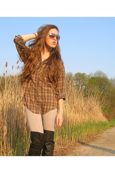 brown vintage shirt - gray xhilaration leggings - black vintage boots - brown An