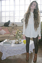 white vintage sweater - brown Forever 21 tights - brown vintage boots