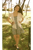 blue ae dress - white free people cardigan - blue BDG shoes