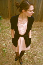 pink Maeve dress - black SilenceNoise cardigan - black Target stockings