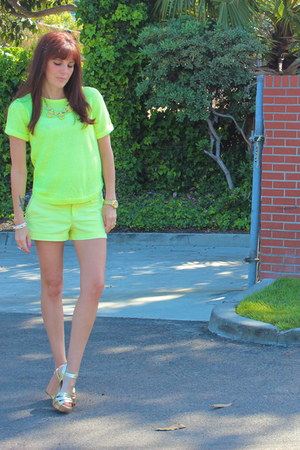 yellow H&M sweater - yellow mossimo target shorts - J Crew necklace