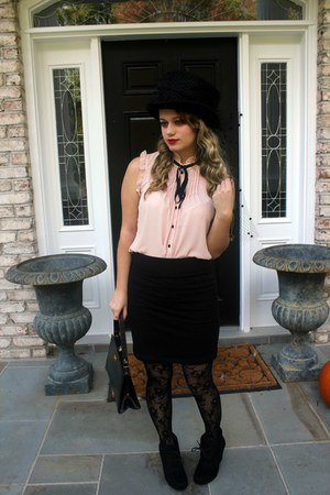 tights - boots - shirt - vintage leather thrifted bag - skirt
