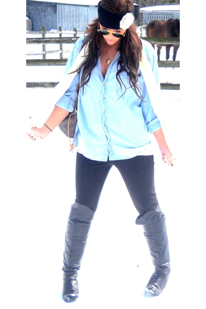 black Chinese Laundry boots - blue vintage shirt - black Forever 21 pants - Fore