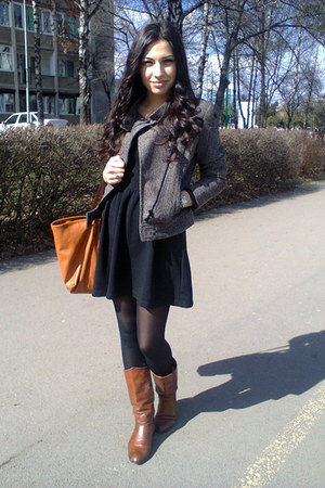 Zara boots - Bershka dress - H&M jacket - Zara bag
