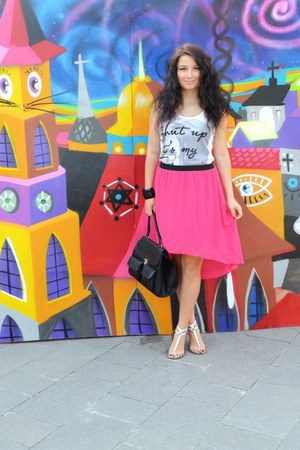 hot pink Vero Moda skirt - black pieces bag - white Terranova top