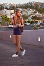 Maroon-bag-navy-shorts-burnt-orange-socks-sky-blue-blouse-white-sneakers