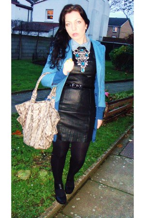 blue Primark blazer - sky blue tesco shirt - black H&M dress - black H&M wedges