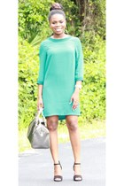 green shift H&M dress - silver Michael Kors purse - black shoemint heels