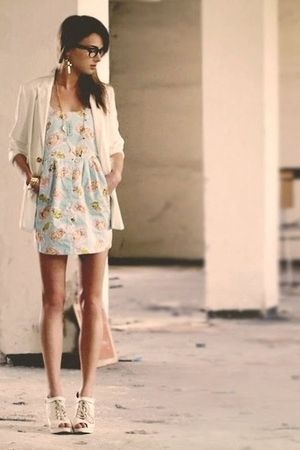 blue River Islan dress - beige Topshop shoes - beige H&M jacket