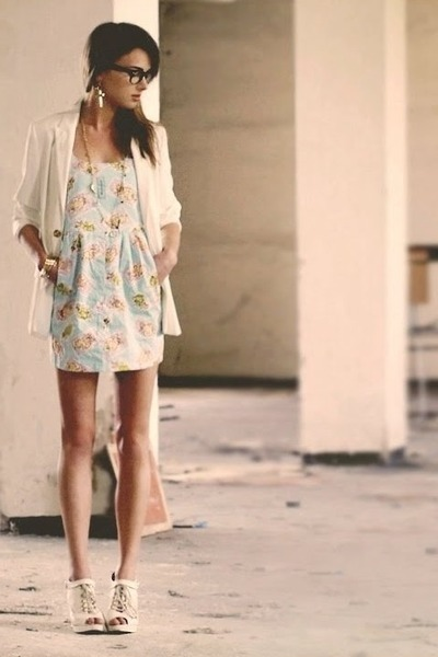 blue River Islan dress - beige Topshop shoes - beige H&amp;M jacket