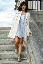 Walls coat - white Golden Rule dress - gray Rue 21 scarf - Fashion Metro shoes