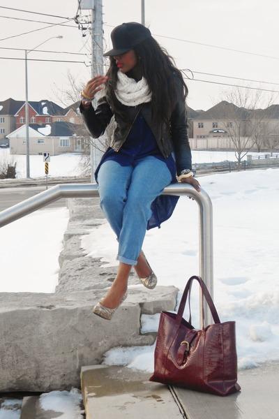 leather H&M jacket - high-waisted vintage jeans - snapback Lids hat - Zara top