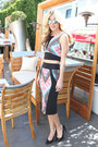 Black-bebe-skirt-hot-pink-bebe-top