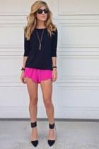 Forever 21 sweater - hot pink Gypsy Junkies shorts - black Zara heels