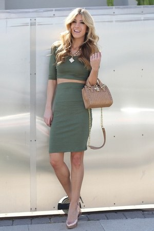 olive green ami clubwear dress - camel Bebe purse - nude Shoedazzle heels