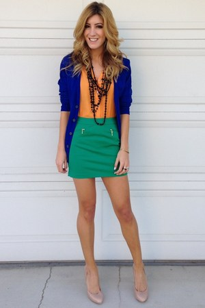 blue H&M cardigan - green Forever 21 skirt - orange Blush Boutique top