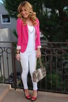 white Sugar & Sequins jeans - hot pink Zara blazer - Chanel bag