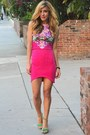 Hot-pink-mustard-cartel-skirt-hot-pink-floral-print-mustard-cartel-top