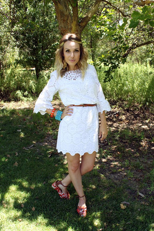 white muse dress - carrot orange Anthropologie sandals