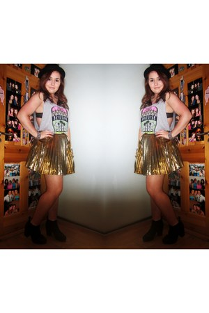 metallic gold Glamorous UK skirt - grey Topshop top