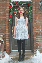 lace dress American Apparel dress - black dress H&M dress - tights Ardene tights