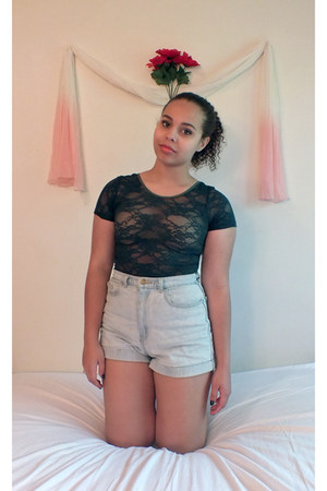lace American Apparel shirt - denim American Apparel shorts