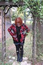 Cowboy-boots-lei-boots-plaid-rue21-coat-walmart-tights-torrid-shorts