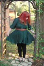 green Cory Sharp dress - black leggings - light brown braided belt