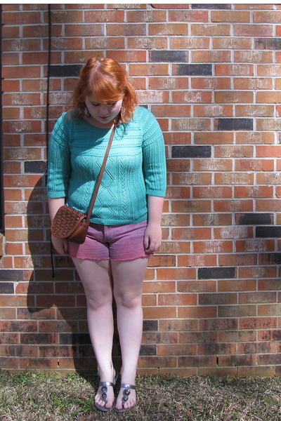 turquoise blue sweater - brown vintage bag - bubble gum hand dyed Kmart shorts
