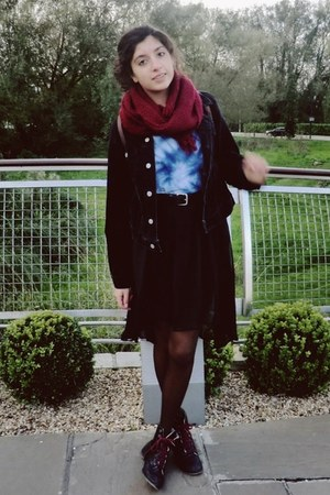 black Lee jacket - black Topshop boots - crimson Grandmas scarf
