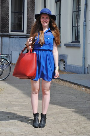 black Sascha boots - blue Primark dress - blue Monki hat - ruby red Zara bag
