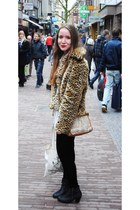 black leather Sascha boots - faux fur New Yorker coat - velvet H&M tights - the