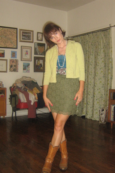 cowboy boots vintage boots - BDG top - Mossimo skirt - yellow vintage cardigan