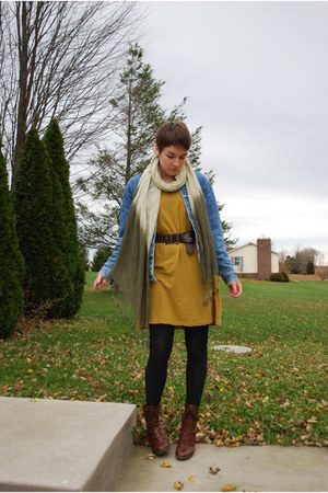 mustard H&M dress - brown boots - light blue vintage Levis jacket
