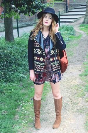 black aztec Zara jacket - brown suede duo boots boots