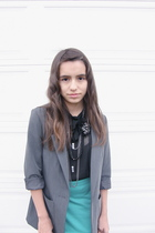 blue high waisted Urban Outfitters skirt - gray blazer H&M blazer