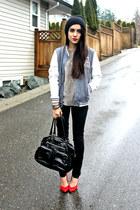 black H&M bag - charcoal gray Sirens jacket - black Sirens pants