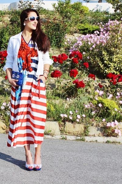 stripes desigual dress - blue floral print H&M purse - patent leather exe heels