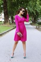 hot pink dresslily dress - black Gucci sunglasses - teal snakeskin Bershka heels