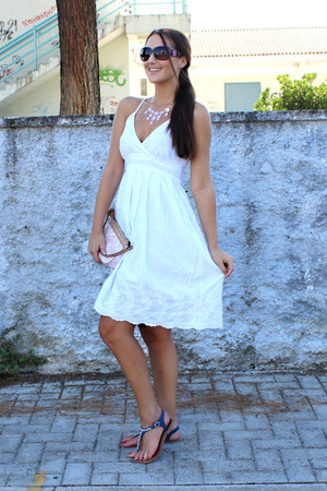 white linen dress - off white floral print Louis Vuitton purse