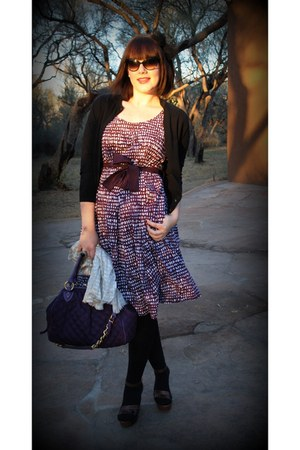 purple La Vie 18 dress - black J Crew cardigan - dark brown Prada wedges - dark