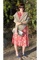 red vintage dress - beige Anthropologie sweater - blue ANDRE shoes - silver Best