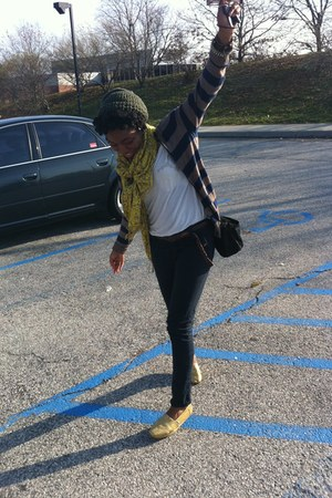 glittery TOMS shoes - knitted Aldo hat - Old Navy cardigan - f21 pants
