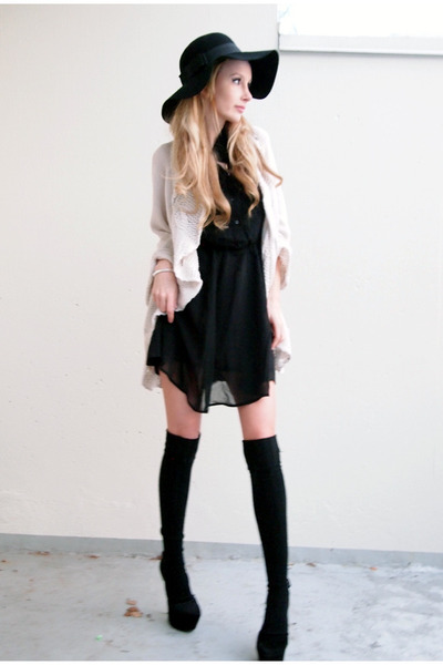 H&M dress - Accessorize hat - GINA TRICOT cardigan - Bianco heels