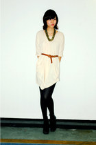 cream toga no brand dress - black opaque no brand leggings - brown leather Topsh