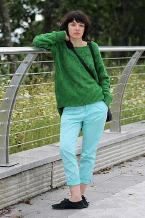 green no name sweater - light blue Mavi jeans - navy 3 suisses loafers