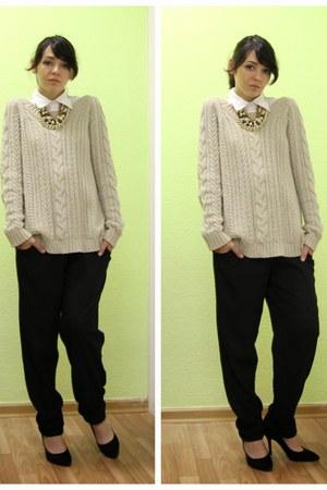 off white Mango sweater - black savage pants